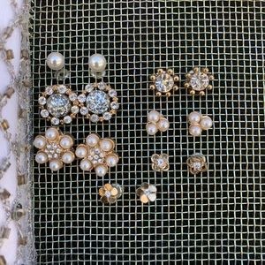 Lot of 7 forever 21 pearl gold stud earrings